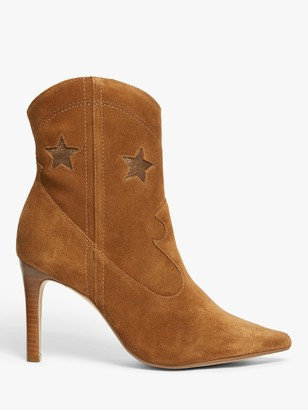 AND/OR Octavia Suede Stiletto Heel Ankle Boots, Brown