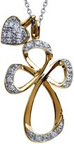 Jessica Simpson 0.15 carat total weight Cross Heart Pendant in Sterling Silver with 10k Yellow Gold