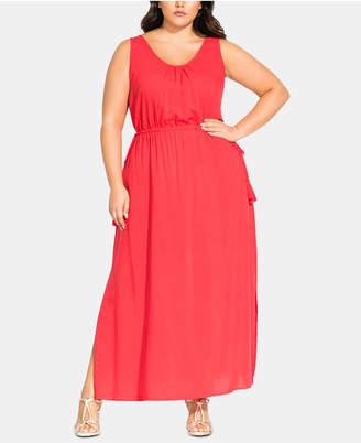 City Chic Sleeveless Drawstring Maxi Dress