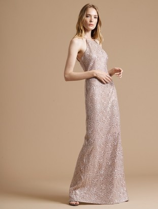 Halston Minimal Metallic Embroidered Gown