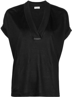 Brunello Cucinelli slouchy silk-linen T-shirt