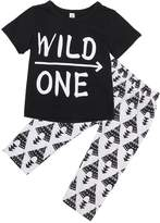 """Canis Baby Boys Short Sleeve """"WILD ONE"""" T-shirt and Printing Pants Outfit (S(0-6M))"""