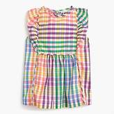 J.Crew Girls' ruffly top in rainbow check