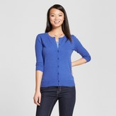 Merona Women's 3/4 Sleeve Crew Favorite Jersey Cardigan Uniform Blue