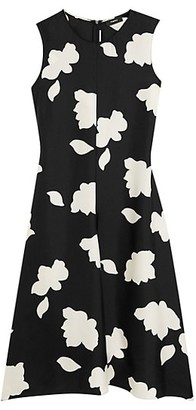 Theory Floral Print Silk Fit & Flare Dress