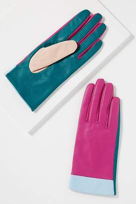 Colourblocked Leather Gloves