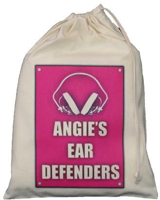 The Cotton Bag Store Ltd Personalised - Ear Defenders Bag - Small Natural Cotton Drawstring Bag 25cm x 35cm - pink design