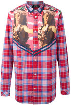 No.21 printed panel plaid shirt
