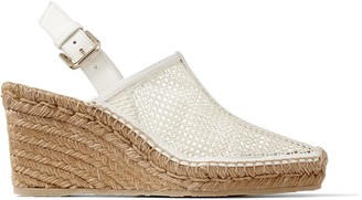 Jimmy Choo DAKORI 90 Latte Honeycomb Net and Nappa Leather Slingback Wedge Sandals