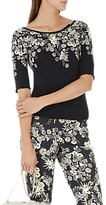 Marc Cain Floral Print Jersey Top, Black