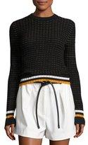 3.1 Phillip Lim Cotton Crochet Pullover Sweater, Black
