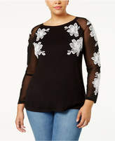 INC International Concepts Plus Size Embroidered Illusion Top, Created for Macy's