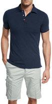 Kiton Short-Sleeve Snap-Placket Pique Polo Shirt, Navy