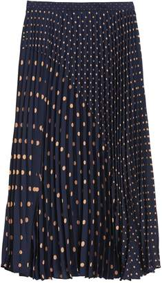 Banana Republic Petite Polka Dot Pleated Midi Skirt