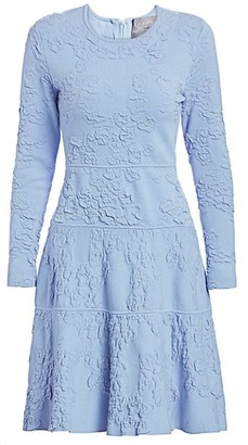 Lela Rose Textured Knit Long-Sleeve Dress
