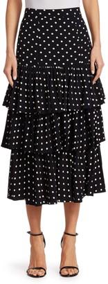 Cinq à Sept Rowena Tiered Polka Dot Midi Skirt