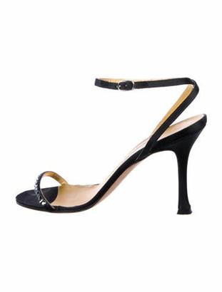 Manolo Blahnik Embellished Satin Sandals Black