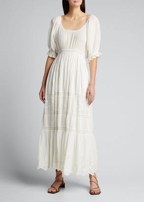 LoveShackFancy Lupita Long Cotton Eyelet Dress