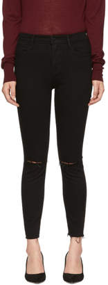 Frame Black Le High Skinny Crop Ripped Jeans