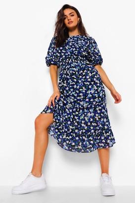 boohoo Floral Chiffon Puff Sleeve Midi Dress