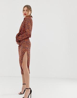 John Zack midi skirt with side split in contrast print