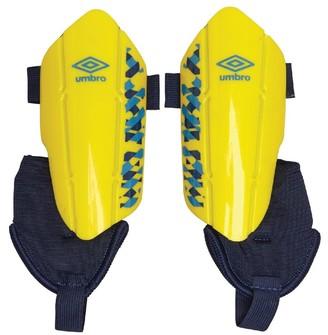 Umbro Junior Neo Classico II Shin Guards With Detachable Ankle Socks Blazing Yellow/Ibiza Blue/Sodalite Blue
