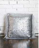 Express faux fur and sequin reversible pillow