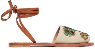 Red(V) Embellished Leather-trimmed Canvas Sandals