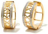 "Sevilla Silver with Technibond Diamond-Accent ""Roman Numeral"" Hoop Earrings"