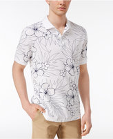 Club Room Men's Hibiscus Sketch Cotton UPF 50+ Performance Polo, Only at Macy's