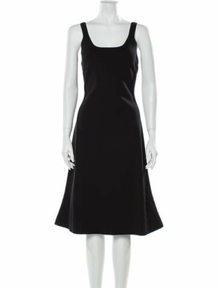 Narciso Rodriguez Scoop Neck Knee-Length Dress w/ Tags Black