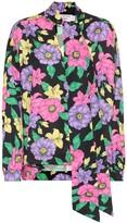 Balenciaga Scarf floral satin blouse