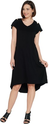 Halston H by Petite Knit Crepe Dress with Cutout Detail