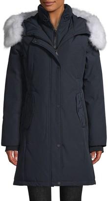 1 Madison Blue Fox-Fur Trim Down Parka Coat