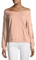 Rebecca Minkoff Macey Off-the-Shoulder Embroidered Sweatshirt