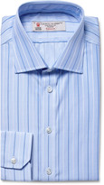 Turnbull & Asser - Blue Slim-fit Striped Puppytooth Cotton Shirt