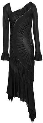 Roberto Cavalli Asymmetric Ruched Stretch-knit Dress