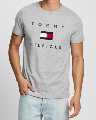 Tommy Hilfiger Tommy Men's Grey T-Shirts - Tommy Flag Tee - Size XS at The Iconic