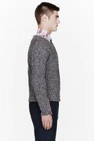 Thom Browne Grey cablekint confetti slub cardigan