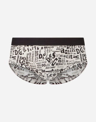 Dolce & Gabbana Cotton Brando Briefs With Lettering Print Over A White Base