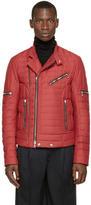 Balmain Red Quilted Biker Jacket