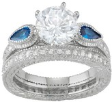 Journee Collection 8 CT. T.W. Round-cut CZ Basket Set Glass Stone Wedding Ring Set in Sterling Silver