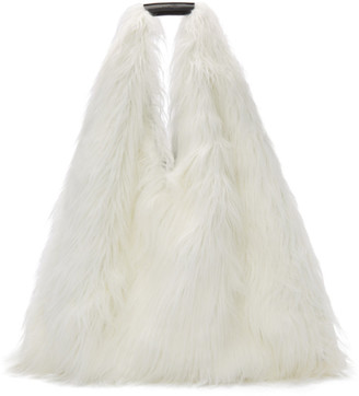 MM6 MAISON MARGIELA Reversible White Faux-Fur Shopping Tote