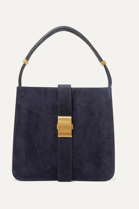 Bottega Veneta Marie Embellished Suede Shoulder Bag - Navy
