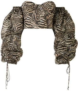 LaQuan Smith Zebra-Print Bustier Top