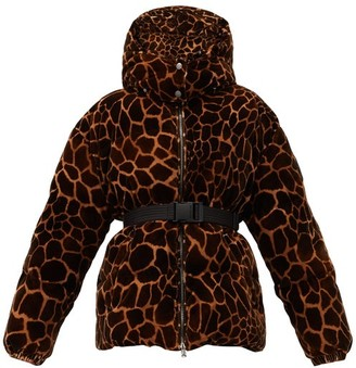 Moncler Kundogi Animal-print Quilted-down Hooded Jacket - Brown Multi