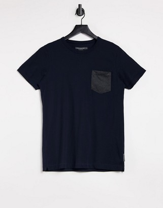 French Connection contrast pocket t-shirt in navy
