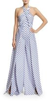 Ralph Lauren Sleeveless Crisscross Striped Jumpsuit, White/Blue