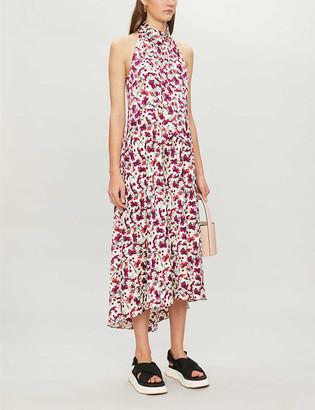 Me And Em Floral-print halter neck crepe midi dress