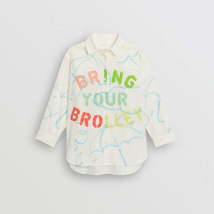 Burberry Umbrella Print Linen Cotton Shirt
